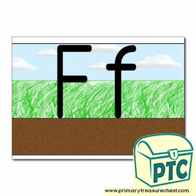 Letter 'Ff' Ground-Grass-Sky Letter Formation Sheet