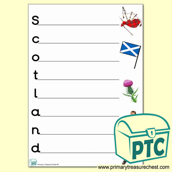 Scotland Acrostic Poem Worksheet