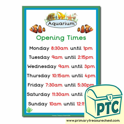 Role Play Aquarium Opening Times Poster (O'clock Times)
