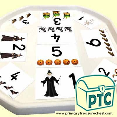 Halloween Themed Number Tuff Tray Cards