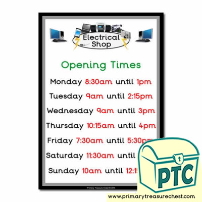 Role Play Electrical Shop Opening Times (Quarter & Half Past)