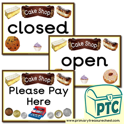 Role Play Cake Shop Signs