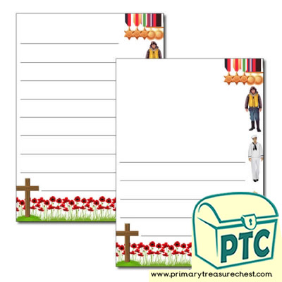 Remembrance Day Page Border /Writing Frame (wide lines)