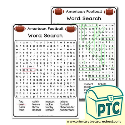 A4 Super Bowl Themed Word Search