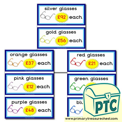 Opticians Role Play Prices Flashcards (21p-£99)