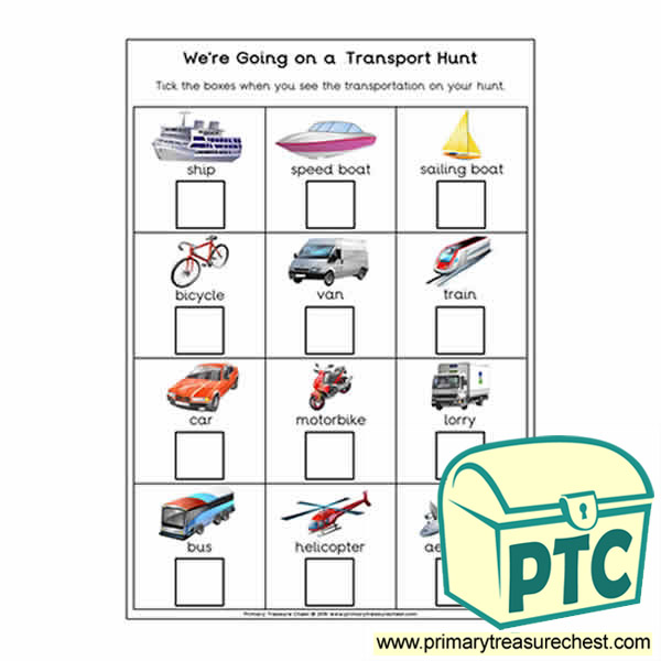 We're Going on a Transport Hunt Worksheet