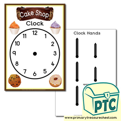 'Cake Shop' Themed Clock Poster