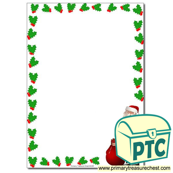 santa with holly page border   writing frame  no lines free clip art borders and frames money free clip art borders and frames swirls