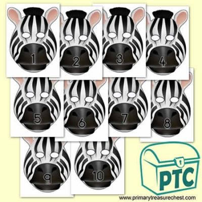 Zebra Role Play Masks Numbered 1-10