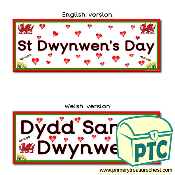 Double mounted effect, St Dwynwen Day themed Display banner
