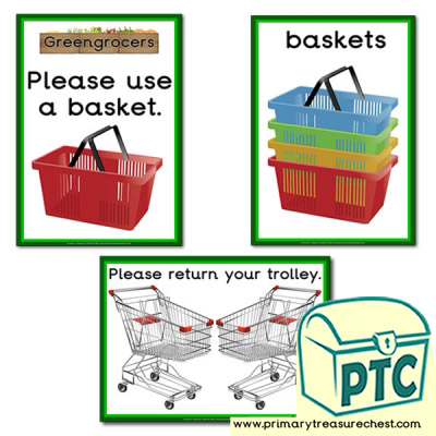 Greengrocers Role Play Basket / Trolley Signs
