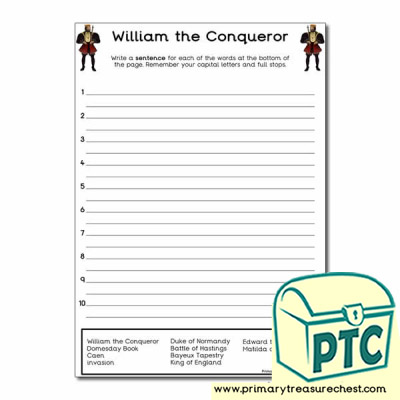 William the Conqueror Themed Sentence Worksheet