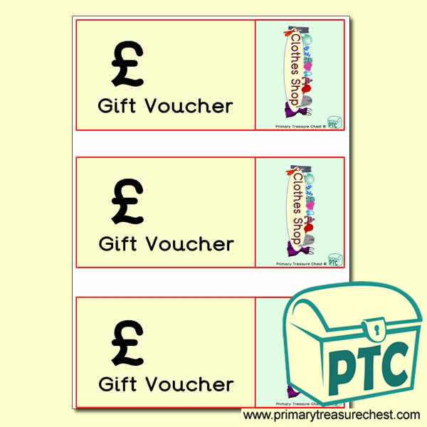 Clothes Shop Role Play Vouchers (blank)
