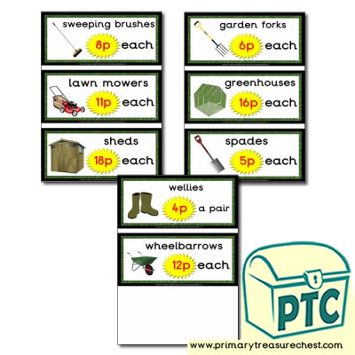 Role Play Garden Centre Equipment Prices (1-20p)