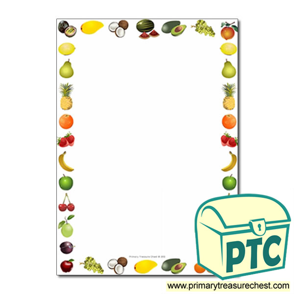 Fruit Themed Page Border Writing Frame No Lines