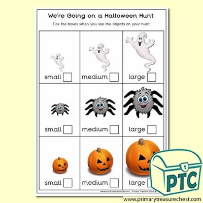 We're Going on a Halloween Hunt Sizes Activity Sheet