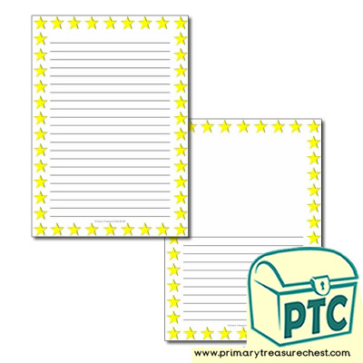Star Themed Page Border / Writing Frame (narrow lines)
