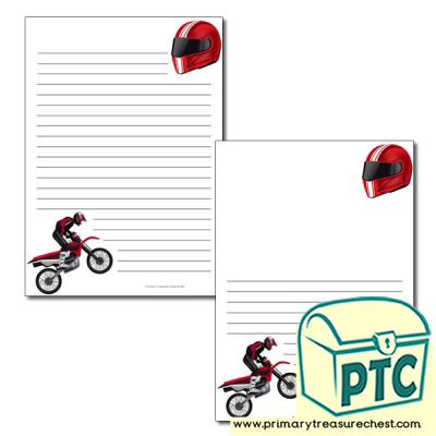 'Motorbike' themed Page Borders/Writing Frames (narrow lines)
