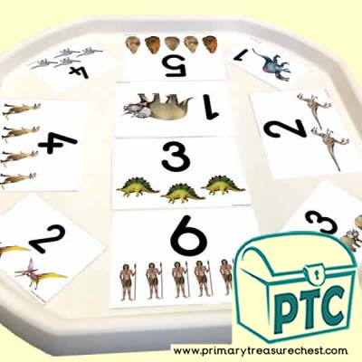 Dinosaur Themed Number Tuff Tray Cards