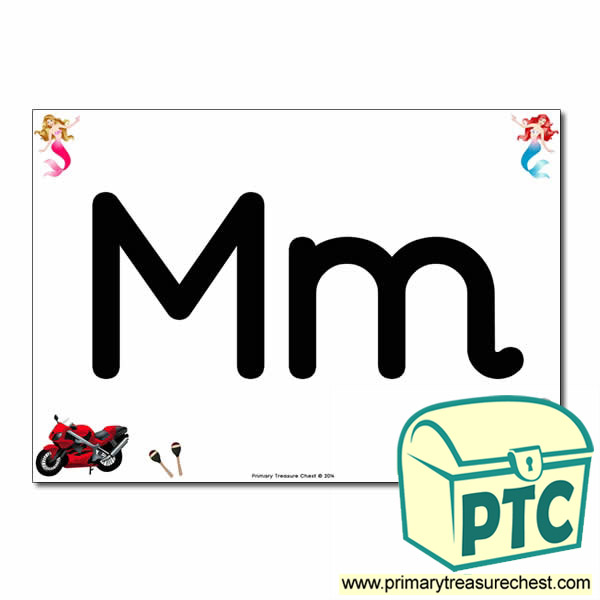 'Mm' Upper and Lowercase Letters A4 posterposter with realistic images
