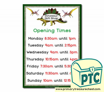 Dinosaur Gift Shop Role Play Shop Opening Times (Quarter & Half Past)