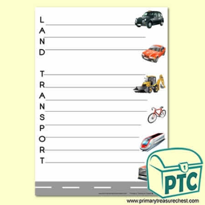'Land Transport' Acrostic Poem Sheet