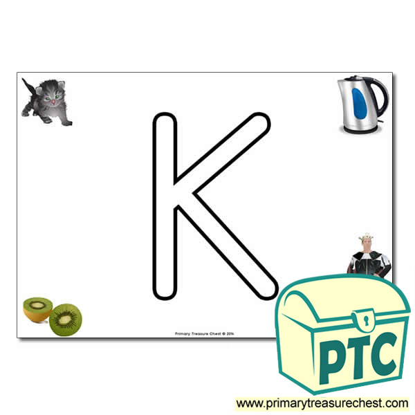 'K' Uppercase Bubble Letter A4 poster with high quality realistic images