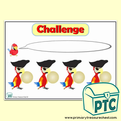 Pirate Parrot Number Line Challenge Poster