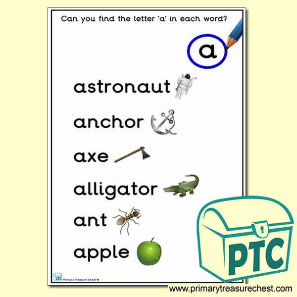 Find the Letter 'a' Activity Sheet