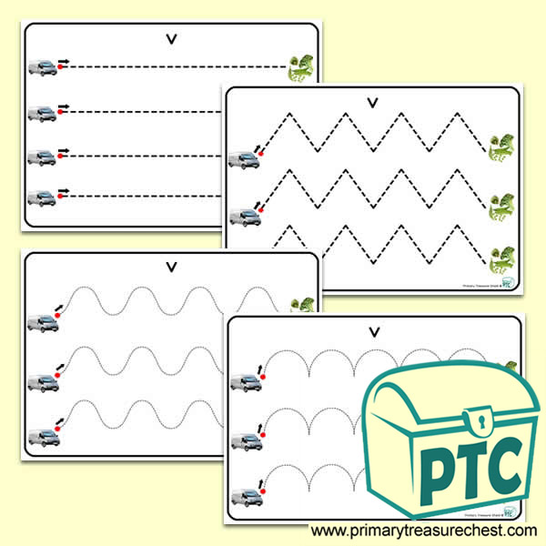 'Vv' Themed Pre-Writing Patterns Activity Sheets