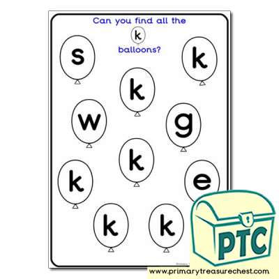 letter k balloon activity sheet letters and sounds phonics primary treasure chest