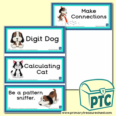 Digit Dog & Calculating Cat Themed Flashcards