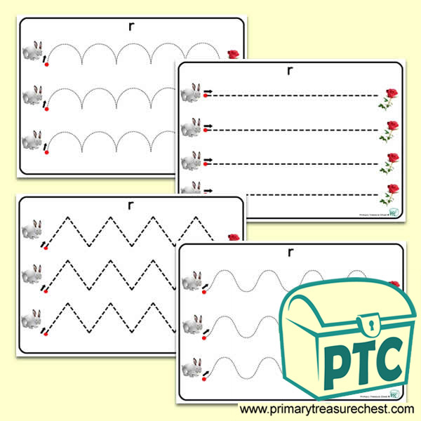 'Rr' Themed Pre-Writing Patterns Activity Sheets