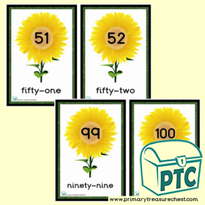 Sunflower Number Line 51 to 100