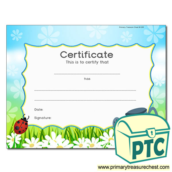 Garden Themed Certificate
