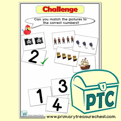 Challenge - Matching Numbers with Pictures Pirate Themed Tuff Tray Resource