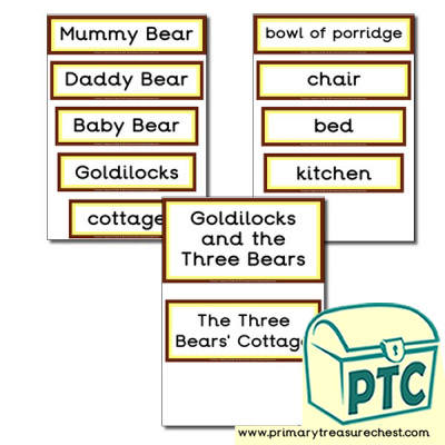 Display Words-Goldilocks and The Three Bears