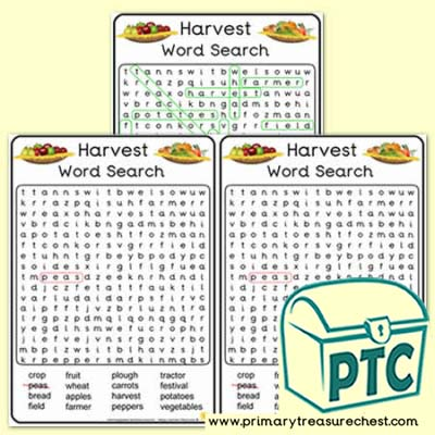 Harvest A5 Word Search Worksheet