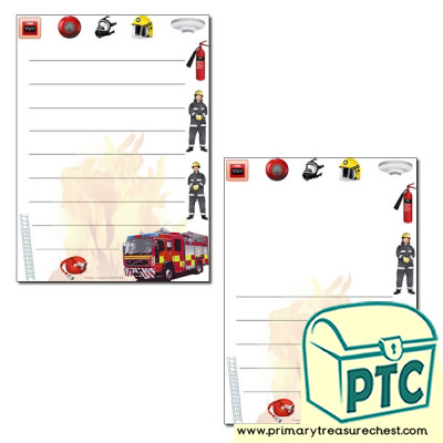Fire Station Themed Page Border/Writing Frame (wide lines)