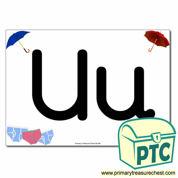 'Uu' Upper and Lowercase Letters A4 posterposter with realistic images