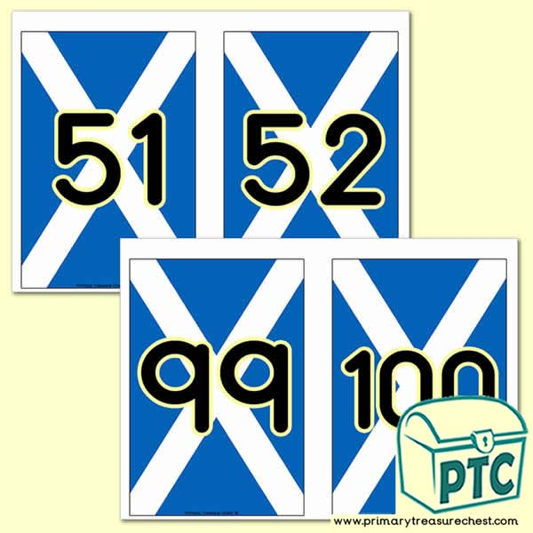 Scottish Flag Number Line - 51 to 100