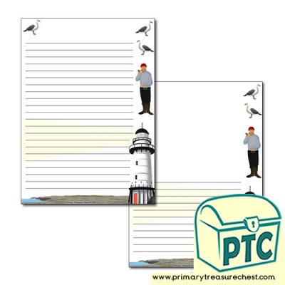 Lighthouse Themed Page Border/Writing Frame (narrow lines)