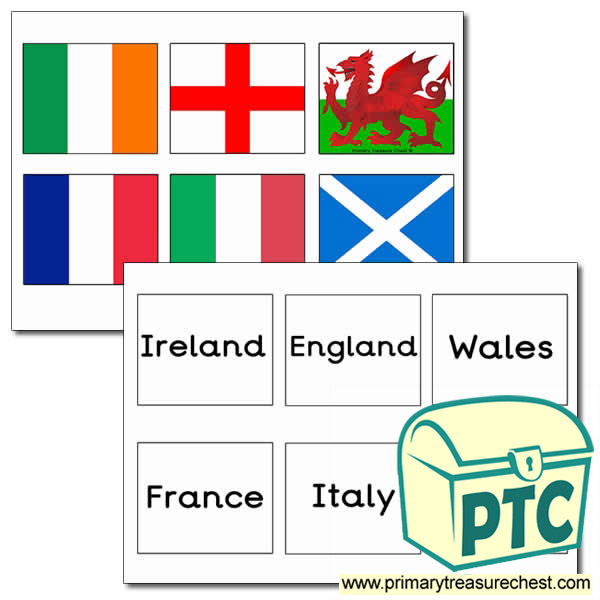 Six Nations Flags Matching Cards Activity