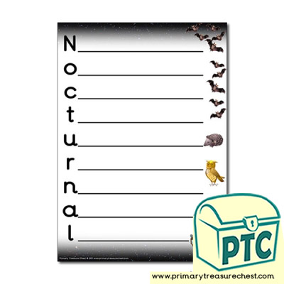 Nocturnal Animal Themed Acrostic Poem Sheet