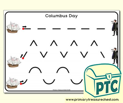 Columbus Themed Pre-Writing Activity Sheet