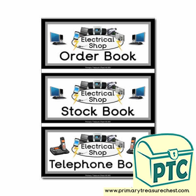 Electrical Shop Role Play Book Covers / Labels