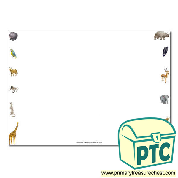 African Animals Landscape Page Border Writing Frame No