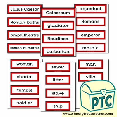 Roman Themed Display Words