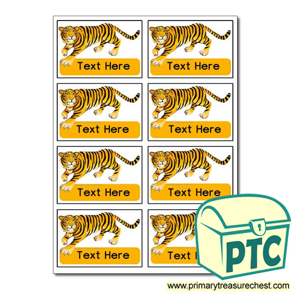 Tiger Themed Coat Hook Labels