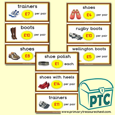 Role Play Shoe Shop Prices (21p - £99)